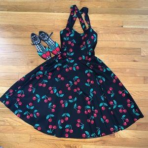 Cherry Print Crisscross Pinup Dress